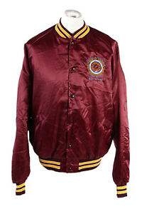 VINTAGE-King-Louie-Baseball-College-Giacca-Bomber-in-raso-2XL-BORDEAUX-C1761