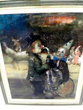 """CALOGERO Jean (1922-2001 né en Sicile)Huile/Toile""""Clowns au saxophone et tambour"""
