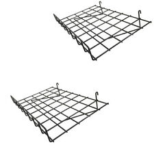 2 Pc Wire Grid Shelf Gloss Black Flat 24 X 15 With Lip Slatwall Pegboards