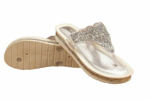 LADIES GLITTERY SANDALS CASUAL PARTY SLIPPER SLIP ON FLIP FLOP WOMENS SLIDERS