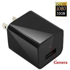 New 1080P 32GB Spy HD DVR Hidden Camera US/EU AC Plug Adapter Video Recorder Cam