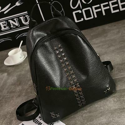 Fashion Women Rivet Backpack Travel Leather Handbag Rucksack Shoulder School Bag