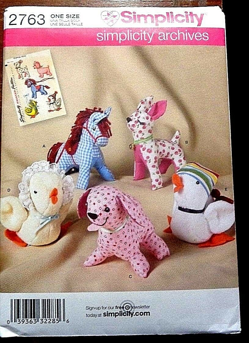 Simplicity 2763 Stuffed Animals Archived Pattern Horse Deer Chicken
