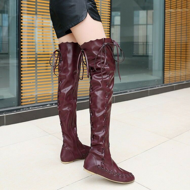 Womens Boots Lace Up Flat Motorcycle Buckle Over Knee High Riding Booties shoes