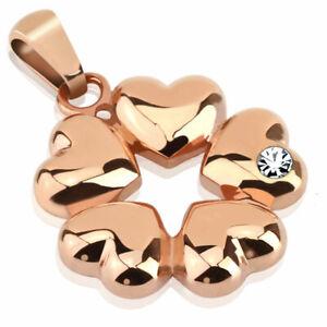 Anhaenger-5-Herzen-Rosegold-Edelstahl-Pendant-Damen-Herren-Halskette-Armband-Frau