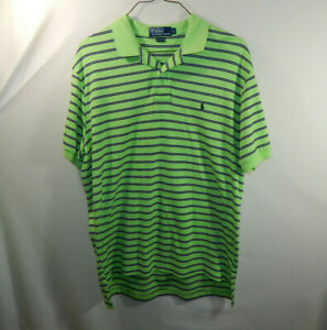 Ralph-Lauren-Polo-Mens-Short-Sleeve-Lime-Green-Golf-Dress-Shirt-Size-LARGE-L