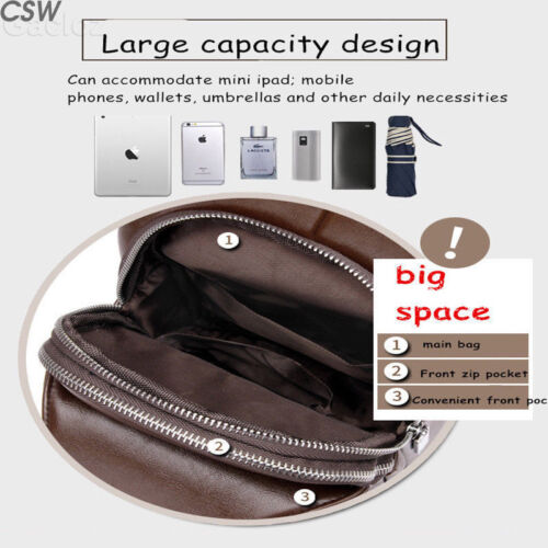 Mens Chest Bag Shoulder Backpack Sling Cross Body Man Satchel Leather Travel Bag