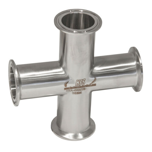 HFS(R) 4 Way Cross + 2 Tri Clamp Fitting 304 Stainless Steel
