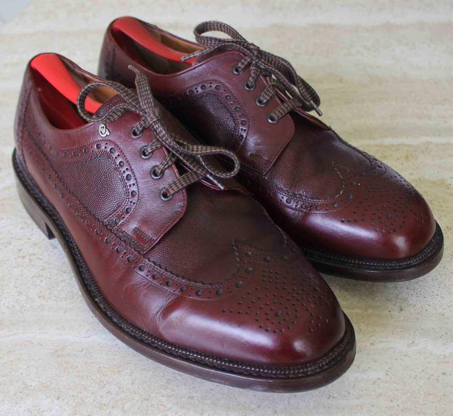 H GREVE Borgoña Cuero Calado Oxfords punta del ala Zapatos euro 10 L USA 11 E