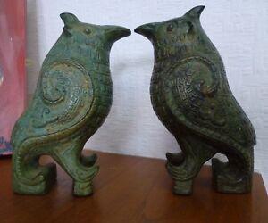 Vintage-Cast-Solid-Bronze-Chinese-Statue-Sculpture-Figurine-Bird-patina-PAIR
