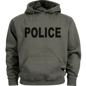 Police-hoodie-gray-black-police-sweatshirt-Men-039-s-size-sweat-shirt-hoody