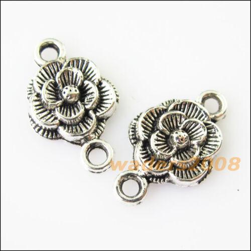 16 New Flower Tibetan Silver Tone Charms Pendants Connectors 12x20mm
