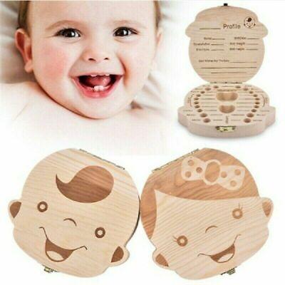Kids Childs Baby Milk Teeth Wooden Tooth Storage Box Memory Save Boy /& Girl