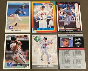 David-Justice-6-CARD-LOT-including-2-ROOKIES-1990-Leaf-amp-1990-Topps-Traded
