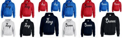 HOOD KING QUEEN CROWN MINE HOODIE JUMPER Funny valentines day Couple Matching
