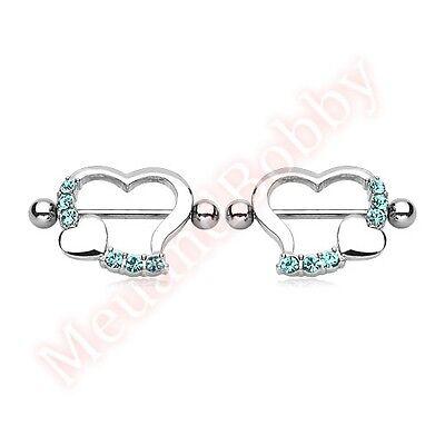 1 Pair 14G 316L Surgical Steel Love Heart Nipple Shield Bar Rings Body Jewellery