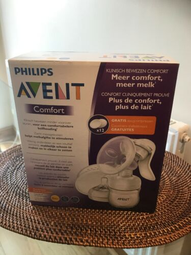 PHILLIPS AVENT COMFORT MANUAL BREAST PUMP WITH 12 FREE PADS NEW /& SEALED