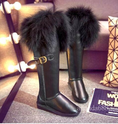 Women Fox Fur Hidden Wedge Heels Shoes Winter Knee High Waterproof Snow Boots Sz
