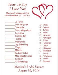 details about 24 personalized how to say i love you bridal shower game