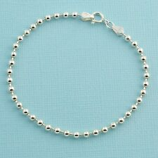 """3MM Sterling Silver Ball Chain Bracelet With Springring Clasp 7"""" Length"""