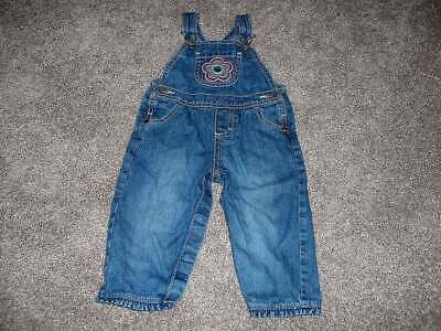 OshKosh B'Gosh Baby Girls Denim Jean Flower Overalls Size 12M 12 Months 9-12 mos