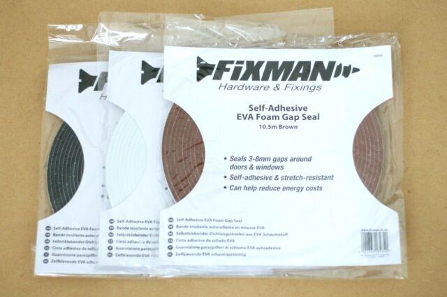 FIXMAN 388856 Selbstklebender Dichtungsstreifen aus EVA-Schaumstoff 3 8 mm//10,5 m