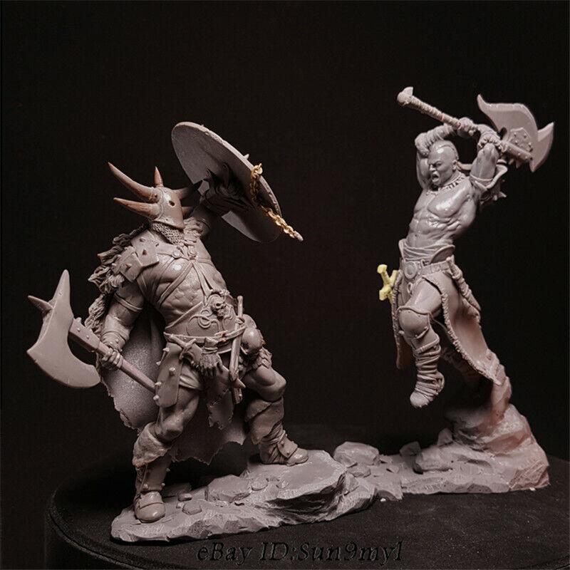 1  24 stridande Warriors hkonsts Kits Obelastad uppsättning av 2 Figures modelllllerlerl Unemblemed