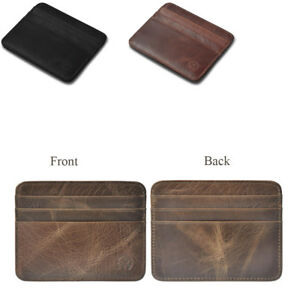 65f3f42e7 Men's Leather Slim Money Clip Front Pocket Wallet Thin Credit Card ...