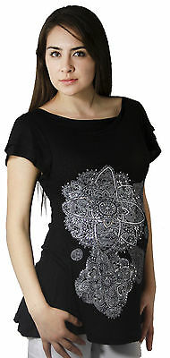 Black Short Sleeve Solid Maternity Top Pregnancy Blouse Silver S M L XL