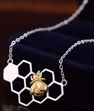 925 Sterling Silver Honeycomb Golden Honeybee Bee Cute Pendant Necklace Gift
