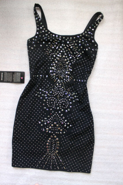 NWT bebe Dress black low back sexy stud beaded luxury top L 10 large hot party