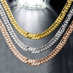 NEW SOLID 925 STERLING SILVERCUBAN LINK CHAIN CUBAN NECKLACE FOR MEN/'S//WOMEN/'S