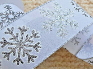 1m 65mm WIRED natural CHRISTMAS RIBBON WHITE  SILVER GLITTER SPARKLE   GIFT BOW