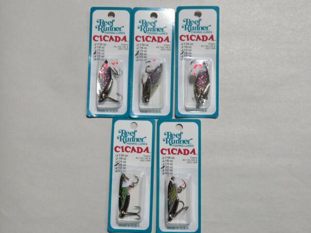"REEF RUNNER CICADA BLADE BAIT LURE 3//8 OZ 1-3//4/"" NICKEL//CHARTREUSE C4-101"