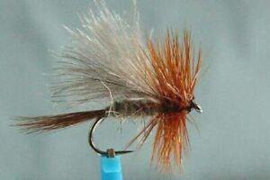 1x Mouche peche Sèche Tricolore Foncéé H14//H16 BARBLESS hook fly mosca fliegen