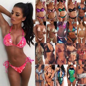 d40e23c4fcc68 Das Bild wird geladen Damen-Pailletten-Bikini-Set-Push-Up-Monokini-Bademode-