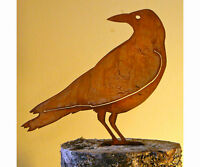 Rusty Metal Crow 2 Silhouette Accent For Inside Or Out, Porch, Fence, Mailbox