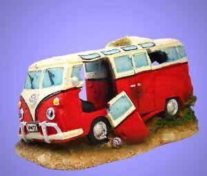 Aquarium Deko Sprudelnder Alter Vw Bus Zubehor Hohle Hippie Auto Ebay