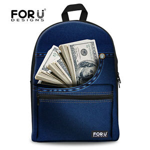 Cool Fashion Backpack Blue Money Print School Bag Travel ... Denim Jansport Backpack