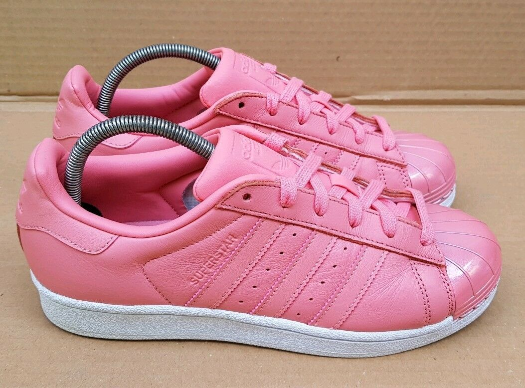GORGEO  ADIDAS SUPERSTAR TRAINERS PINK GLOSS METAL TOE UK IN SIZE 6 UK TOE VGC RARE e01073