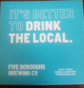 NEW YORK  Breweriana Beer Brewery STICKER ~ FIVE BOROUGHS Brewing Co ~ Brooklyn