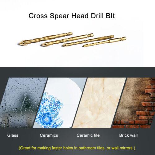 12mm Titanium Tungsten Drill Bit Carbide Tile Glass Cross Spear Head Tool NEW#ur
