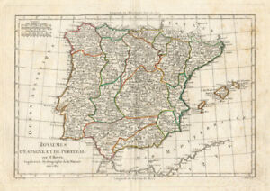 Map Of Spain And Europe.Details About Antique Map Portugal Spain Europe Bonne 1780