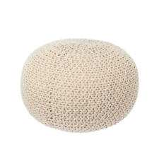 Knit Floor Pouf Round Footstool, Round Pouf Ottoman, Pouffe Seat - LIVINGbasics™