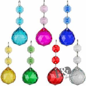 Set 7 Color Crystal Prisms Ball Chandelier Christmas Decor ...