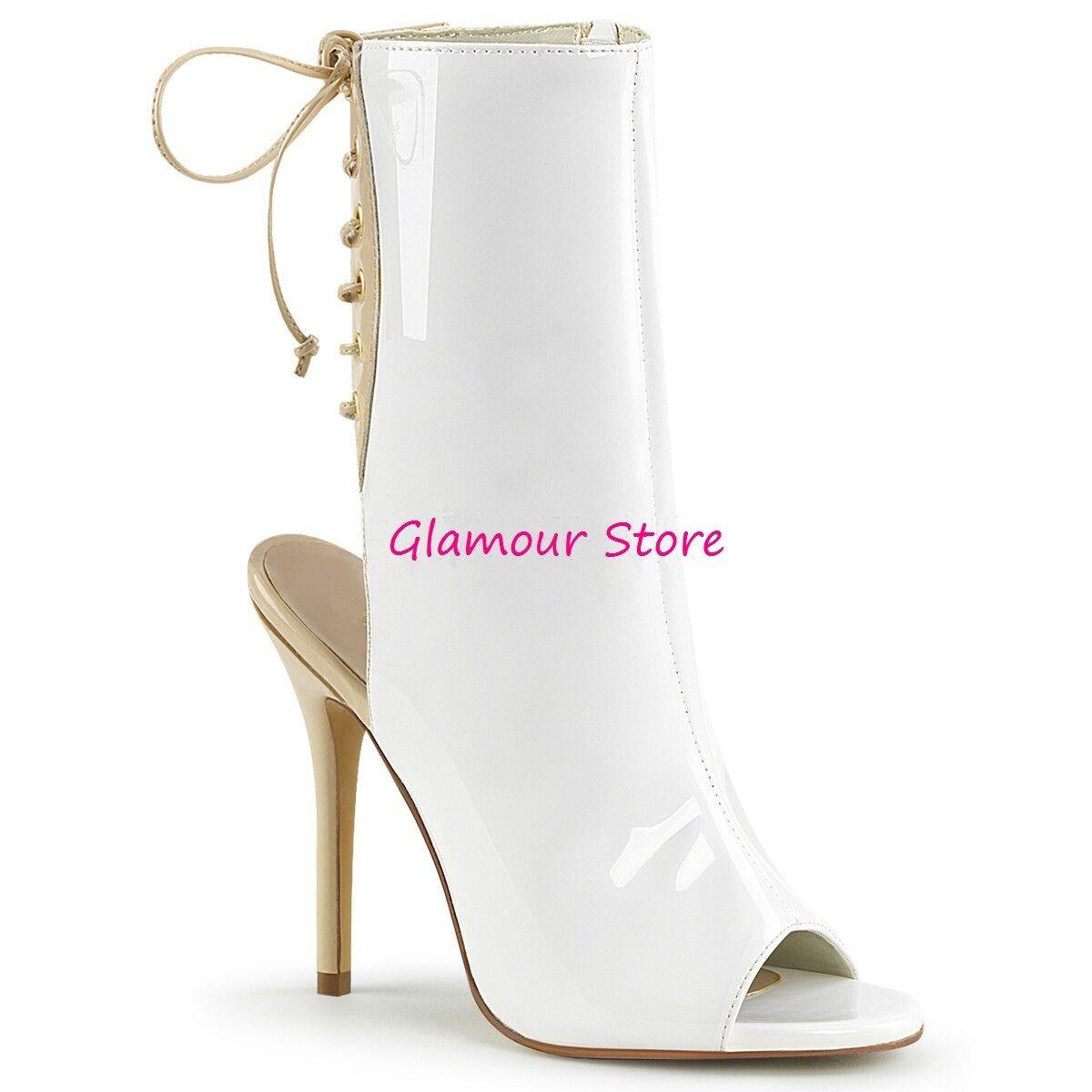 Sexy STIVALETTI BIANCHI APERTI tacco 13 sandali dal 35 al 44 scarpe GLAMOUR