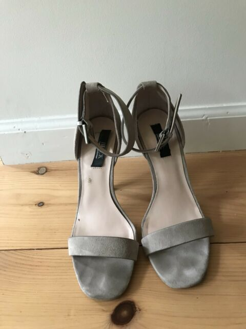 95fa076a541f Women s Shoes Black by Saks Fifth Avenue Size 7Light Grey Suede Ankle Strap  Heel