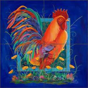 Rooster-Tile-Backsplash-Libby-Country-Life-Art-Ceramic-Mural-SLA004