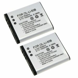 2x-Li-50B-Li-on-Battery-For-Olympus-mju-Touch-6020-8010-9000-XZ-1-XZ-10