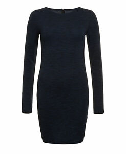 New Womens Superdry Factory Second Augusta Bodycon Dress Navy Twist